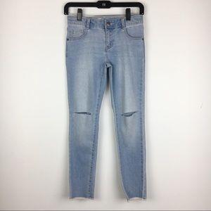 NWT Crazy 8 Light Wash Raw Hem Skinny Jeans 12